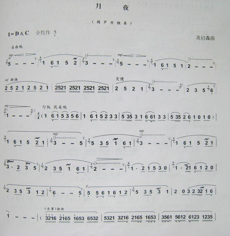 龚启森 作曲的 月夜 简谱 葫芦丝曲